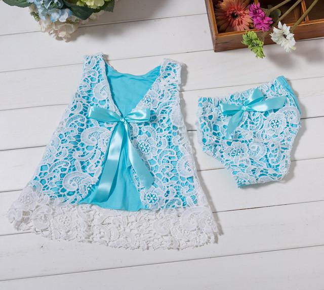 Muchachas del resorte de las señoras vestido de hadas con Pequeñas bragas 2 unid conjunto niño vestido de princesa ropa de bebé vestido infantil del bebé