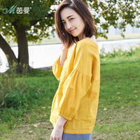 Инман 2019 новые продукты Женская весенняя одежда с v-образным вырезом хлопок и льняной пуловер длинные рукава Свободная блузка