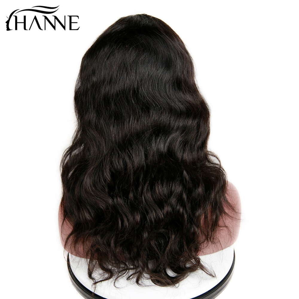 HANNE Hair Brazilian Human Hair Wigs Natural Wave Remy Wig With Bangs Natural Black Color for