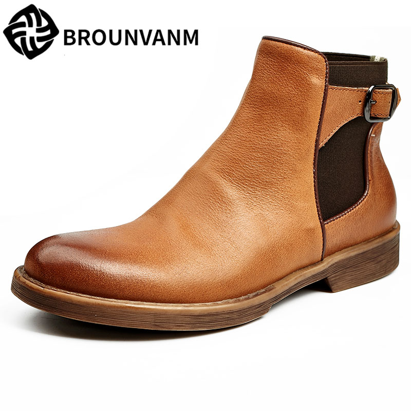 men Leather boots sleeve retro Martin Chelsea Boots Men's casual shoes are all-match round high for England men leather boots sleeve retro martin chelsea boots men s casual shoes are all match round high for england