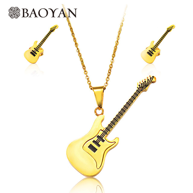 Baoyan Casual Style Cool Gold Color 316L Stainless Steel Guitar Pendant Necklace Jewelry Designs for Women N1