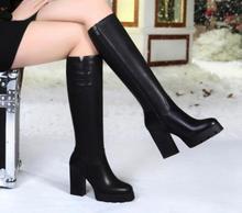 SunNY Everest women boots lady shoes waterproof rubber sole plush High heels platform waterproof winter botas femal 35-40 black