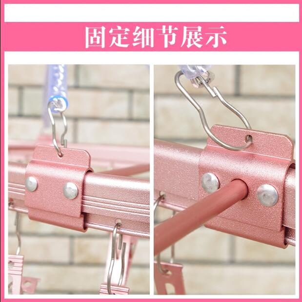 Multi functional airing sock rack Aluminum alloy multi clip hanger underwear sock hook household in Storage Holders Racks from Home Garden