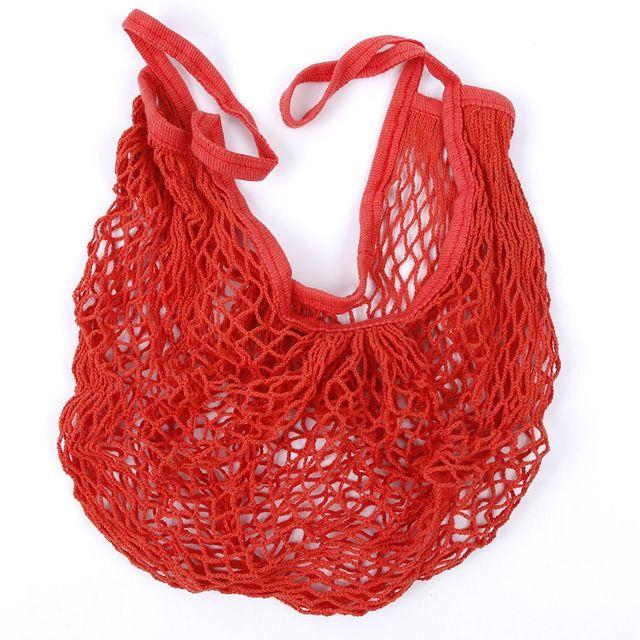 2018 New Mesh Shopping Bag Reusable String Fruit Storage Handbag Totes Women Shopping Mesh Net Woven Bag Shop Grocery Tote Bag 2