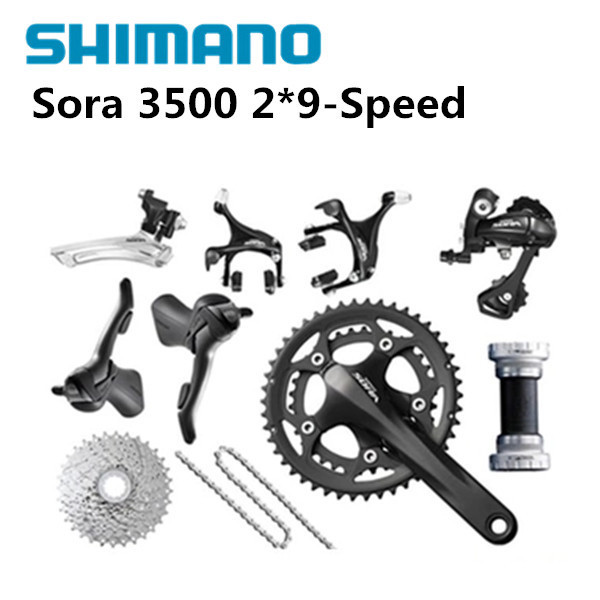 Shimano sora 3500 groupets road bike groupset black bicycle group set170 50-34 11-25, 2*9 speed shimano road bike bicycle group set groupset sora 3500 9 speed black
