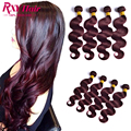 7А Бордовый Бразильские Волосы Weave Связки 99J Бразильские Волосы Девственницы объемная Волна Красный Цвет Человеческих Волос 4 Связки Бразильский Тела волна