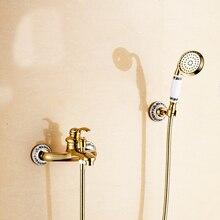 Bonne qualité couleur or robinet de la baignoire, Viennent avec douche à main et flexibles, Eau chaude et froide mixer, Livraison gratuite L16053