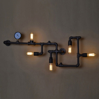 American vintage iron lighting water pipe wall lamp for dining room and restaurant with edsion bulb lamp e27