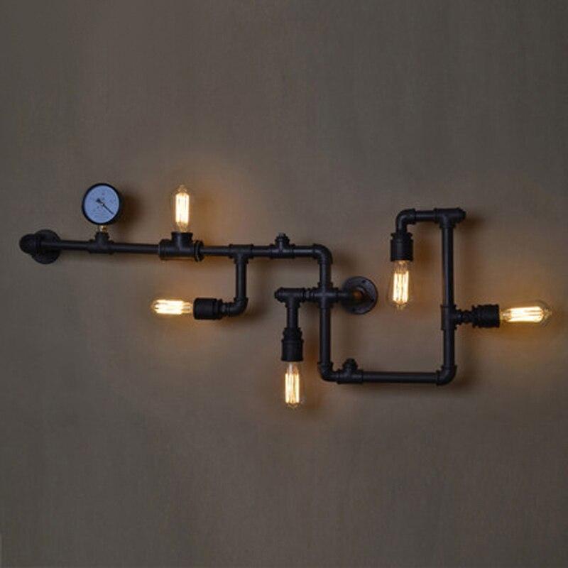 Lampe murale de tuyau d'eau d'éclairage de fer vintage américain pour la salle à manger et le restaurant avec la lampe d'ampoule d'edsion e27