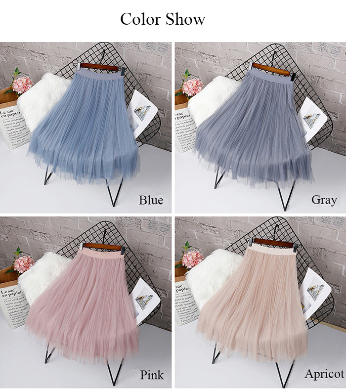 HTB1wLPRLAzoK1RjSZFlq6yi4VXaI - Tulle Skirts Womens Midi Pleated Skirt Black Pink Tulle Skirt Women Spring Summer Korean Elastic High Waist Mesh Tutu Skirt