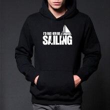 Осенние и зимние мужские хлопковые Толстовки для отдыха, стильная брендовая одежда, Повседневный свитер, Свободные флисовые топы с изображением лодки