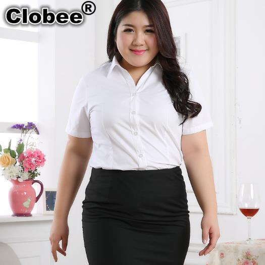 Clobee Plus Size Mulheres Blusas Camisas 2019 camisa OL fino com decote em  v manga Curta Escritório Trabalho Social camisas brancas blusa de verão  m330 em ... 5918f2b9657ad
