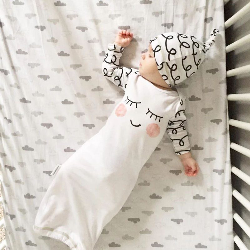 Cute Newborn Baby Clothes Sleepy Eyes+Rosy Cheeks Baby Gown Hat Infant Newborn Coming Home Sleepwear Sleeping
