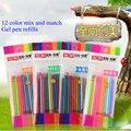 12Pcs/lot Neutral Ink Gel Pen Refill  Office School Neutral Pen Good Quality Refill Flashlight Pen Highlighter Pastel