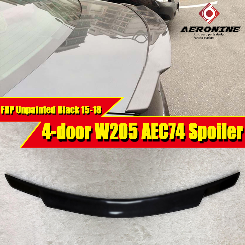 W205 4 door <font><b>Spoiler</b></font> FRP Unpainted Car <font><b>Rear</b></font> Wing <font><b>Spoiler</b></font> For <font><b>Mercedes</b></font> C class C180 C200 C260 C280 <font><b>C300</b></font> C74 style wings 2015-2018 image