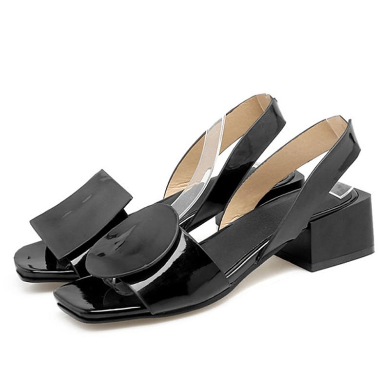 Plus Size 34-43 New summer square heels women sandals ladies white and black open toe Rome beach shoes Fashion Casual sandals sgesvier fashion women sandals open toe all match sandals women summer casual buckle strap wedges heels shoes size 34 43 lp009