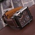 Oulm Stainless steel Large Dial Men's Quartz Watch Square dual Case Dual Movement PU Leather Belt Quartz Watch 3577