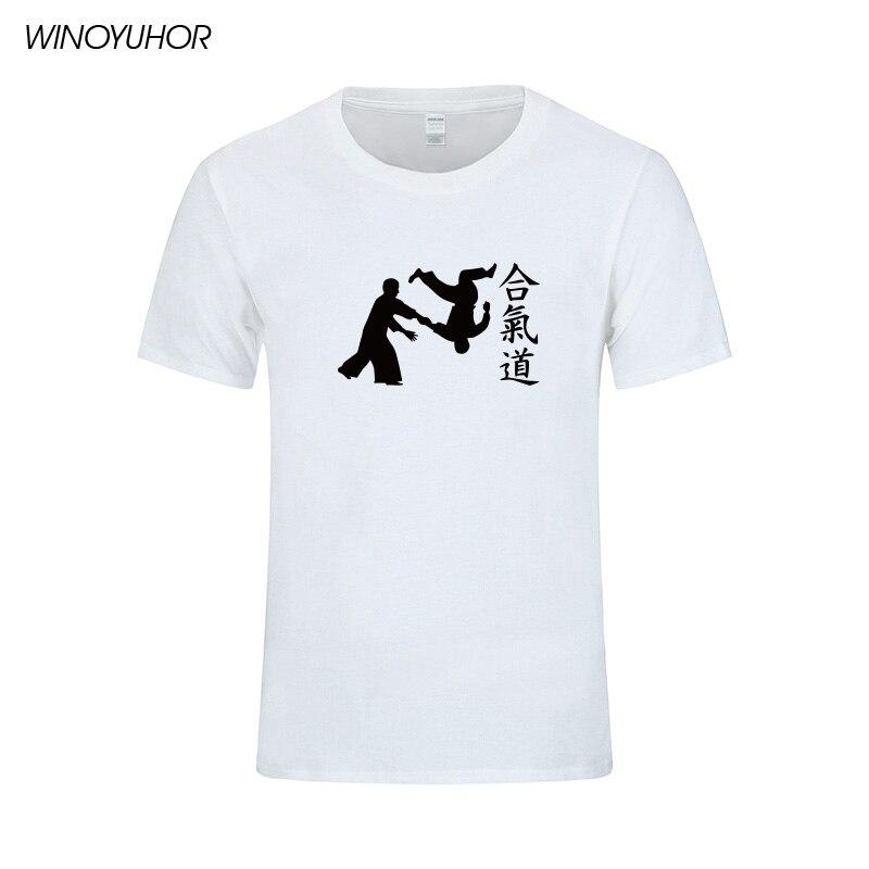 Aikido საბრძოლო ხელოვნება მაისური მამაკაცები 2019 New Fashion მოკლე ყდის O-Neck Cotton Tee იაპონური სტილის მამაკაცის მაისური Camisetas Hombre