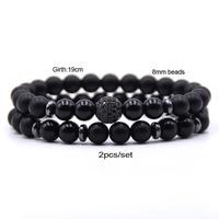 2pc/sets8mm Natural stone Bracelet men Micro Pave CZ 10mm Disco Ball Charms Bracelets for women Men jewelry viking bijoux 5