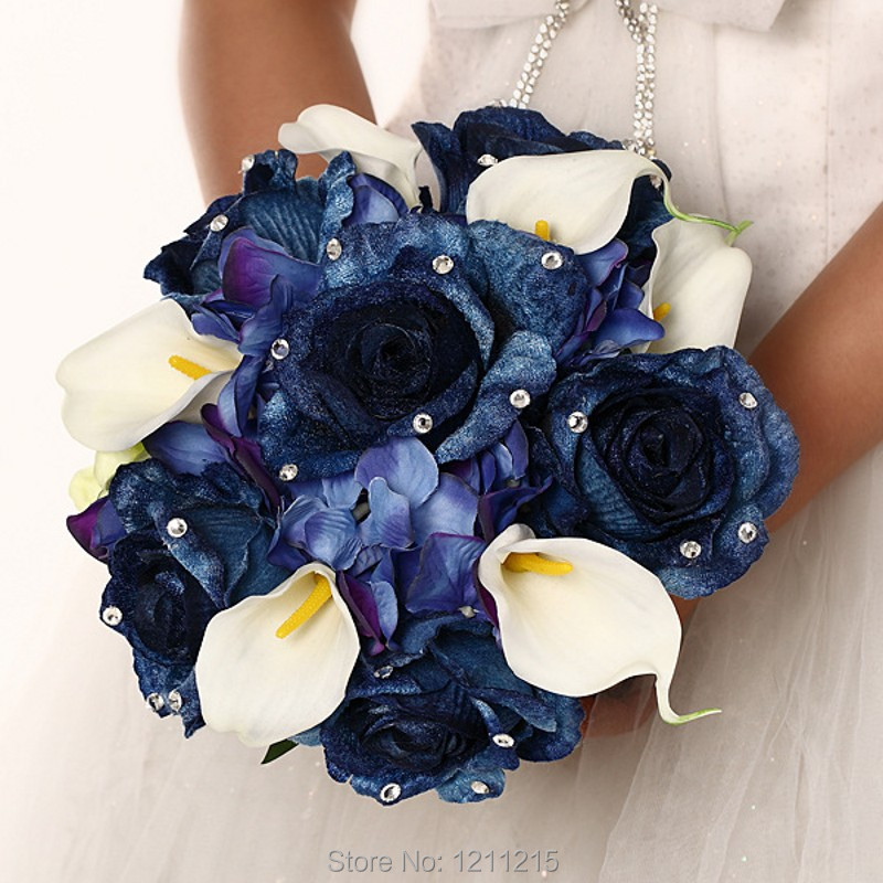 Real Touch Artificial Bridal Wedding Bouquet Navy Blue 2016 New Vintage Country Style Bride Bridesmaid Flowers Accessory In Bouquets From