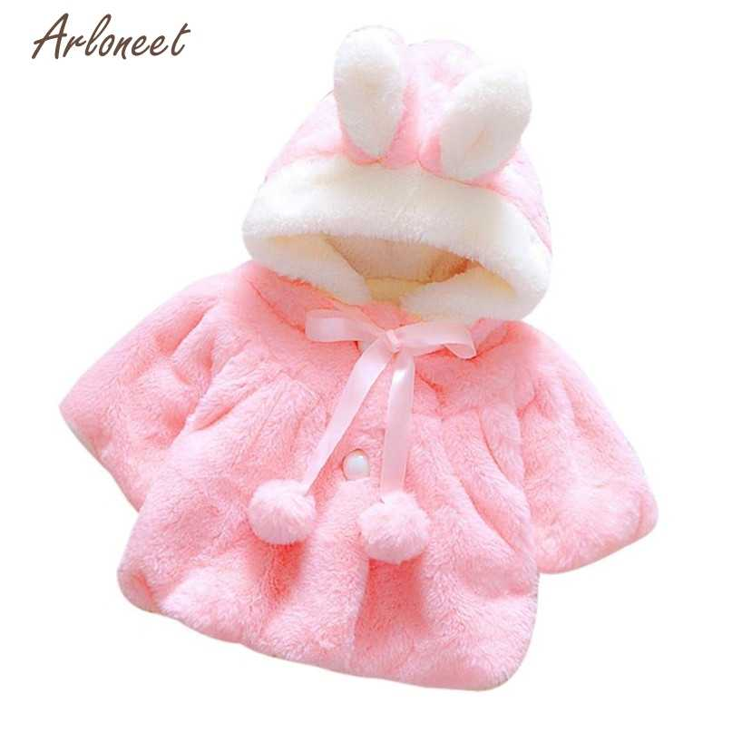 Arloneet Watermelon Red Baby Fashion Sweaters Baby Solid Autumn Winter Hooded Rabbit Jacket Thick Warm 2017 2019 ST22