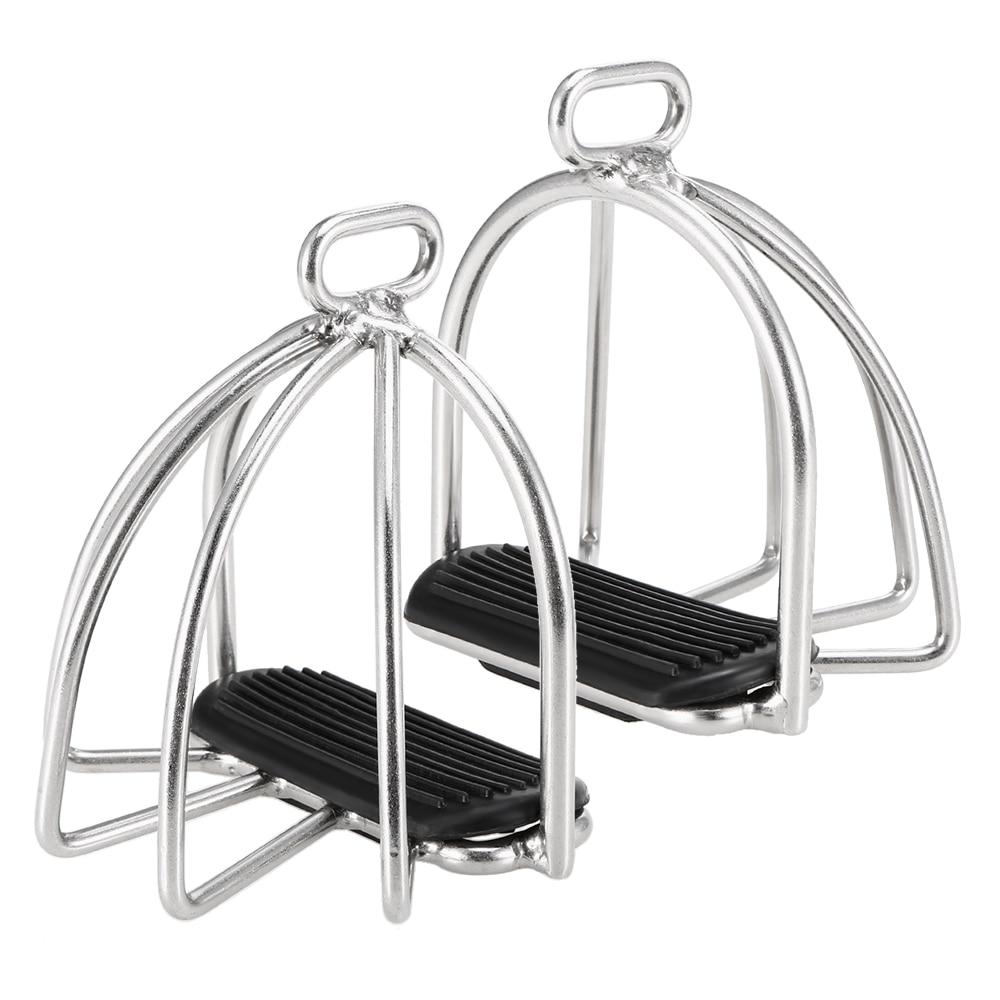 2 PCS Cage Horse Riding Stirrups Flex Steel Horse Saddle Anti-skid Horse Pedal Equestrian Safety Equipment 6