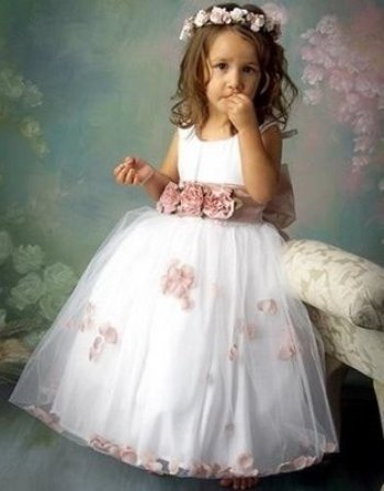 Princess Ball Gown Little   flower     girl     dresses   for weddings 2015 Hot Sale Aplliques   girls   Fomal   dresses   With Bow Silk   Flower
