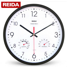 13 Inch Fashion Large Wall Clock Living Room Modern Brief Mute Quartz Wall Clock with Thermometer and Hygrometer