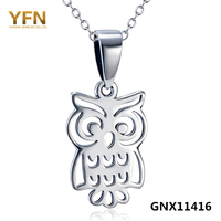 GNX11416 Genuine 925 Sterling Silver Cute Owl Pendant Necklace Wholesale Antique Silver Charm Necklace Fashion Jewelry