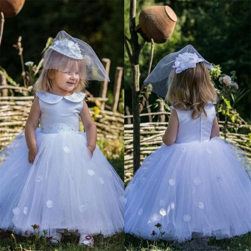 Little Girls Birthday Gowns with 3D Floral Appliques Top Satin Custom Made For Cute Girls Flower Girl Dress for Special OccasionLittle Girls Birthday Gowns with 3D Floral Appliques Top Satin Custom Made For Cute Girls Flower Girl Dress for Special Occasion