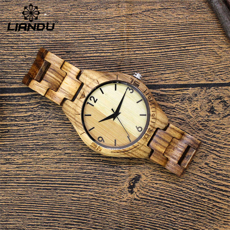 LIANDU Bamboo Wooden Watches Mens Luxury Brand Japan Movement Clock Zebra Wood Strap Analog Quartz Wristwatch in Gifts Box  2017 newest color of bamboo wood watch for women fashion tiangle wooden wristwatch for gifts quartz clock in a box