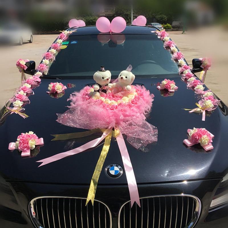웨딩 자동차 장식 인공 꽃 웨딩 장식 꽃 거품 장미 실크 장식 도매