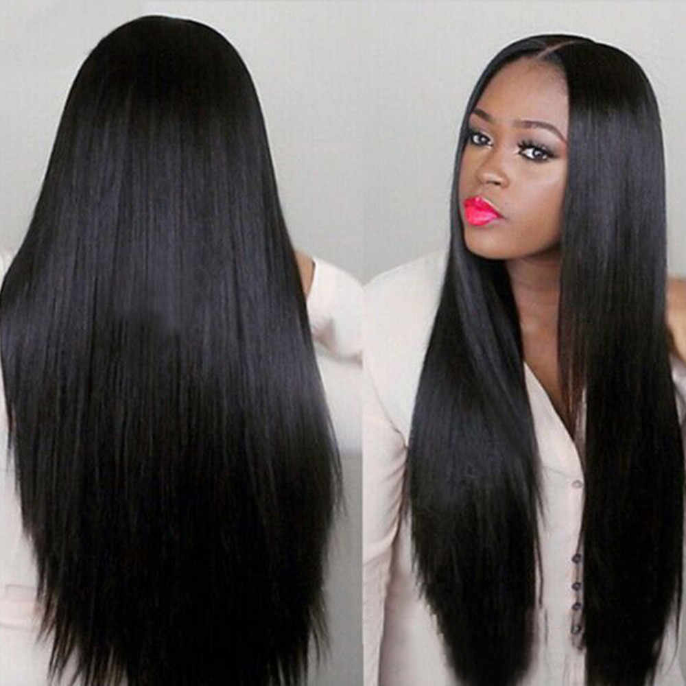 Women Long Brazilian Black Straight Natural Wig Hair Cosplay Full Wigs Costume bonnet perruque confection