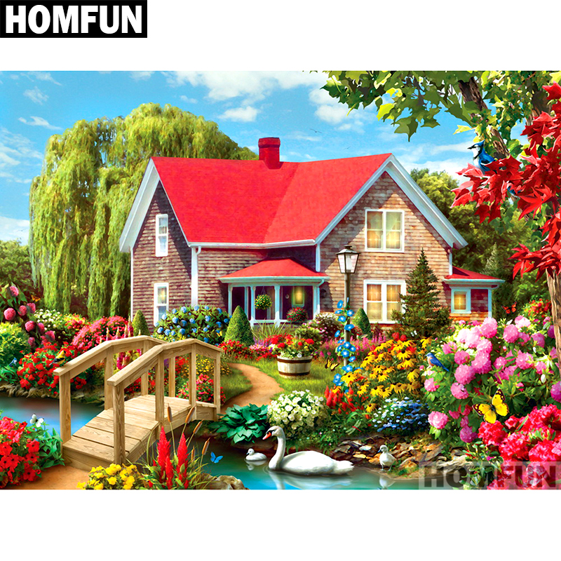 Homfun Full Square/round Drill 5d Diy Diamond Painting garden & House Embroidery Cross Stitch 5d Home Decor Gift A01693 Home & Garden
