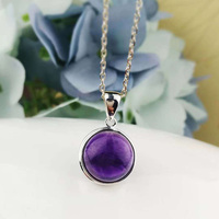 Real Pure 925 Sterling Silver Amethyst Pendant For Women With Natural Stones Simple Elegant Pendant Fine Jewelry