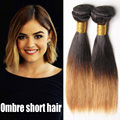 Cheap Ombre Hair Extensions Straight 2 Tone Human Hair Weaves, 2016 Fashion ombre short hair 3 bundles Brazilian Virgin hair