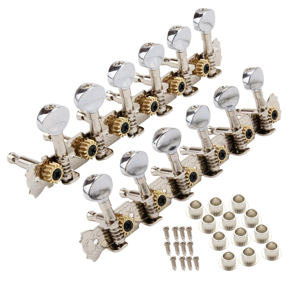 new 1 set 6r6l 12 string acoustic guitar machine heads tuning pegs keys tuners chrome in guitar. Black Bedroom Furniture Sets. Home Design Ideas