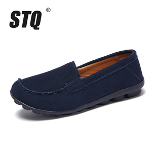 Image 2 - STQ 2020 Autumn Women Flats Leather Suede Slip On Loafers Shoes Ballet Flats Shoes Laides Boat Shoes Oxford Shoes For Women 685