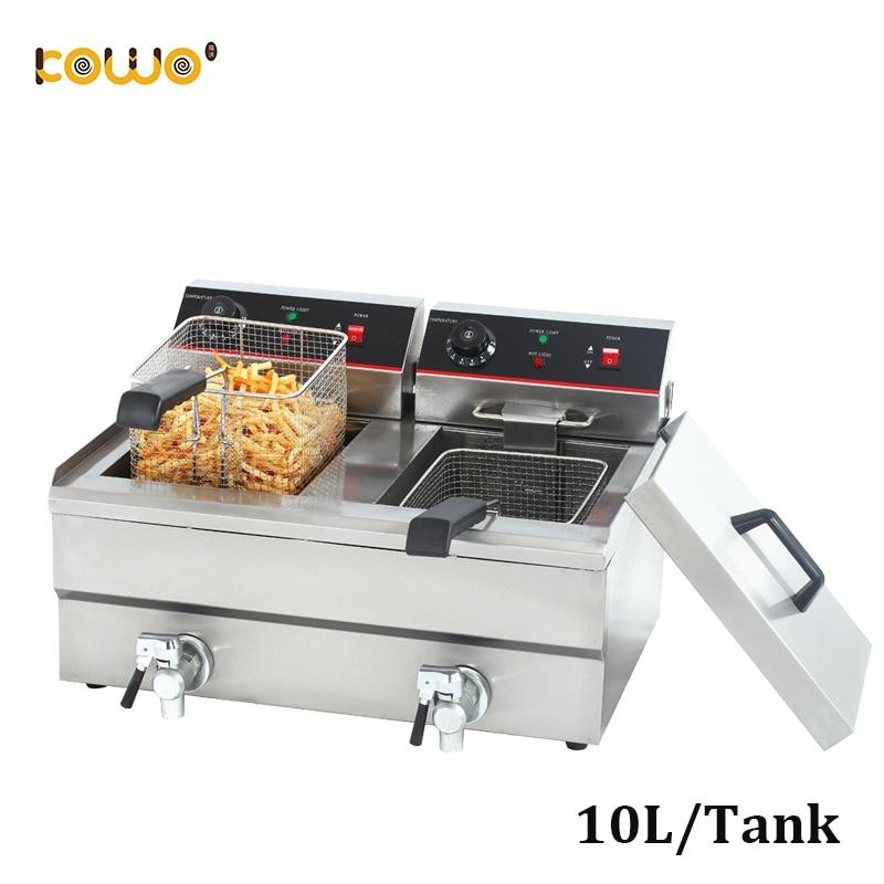 commercial double tanks potato electric deep fryer 10L/tank commercial double tanks potato electric deep fryer 10L/tank