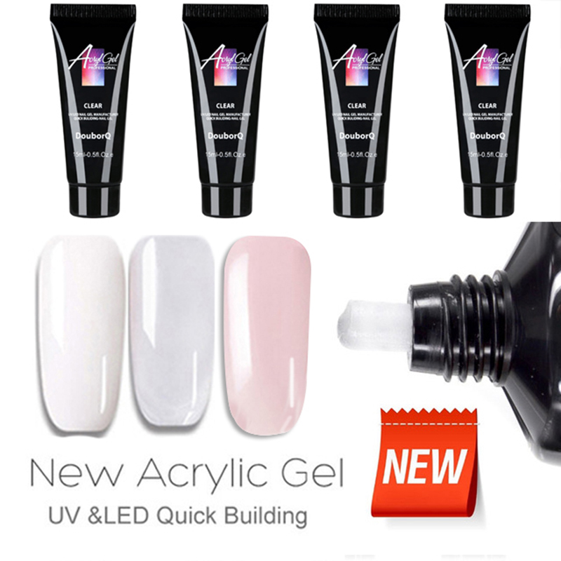 3Colors 15ml Nail Builder Gel Polish Varnish For Nail Extension UV Gel LED Sculpting Hard Poly Gel Lacquer Manicure Tool