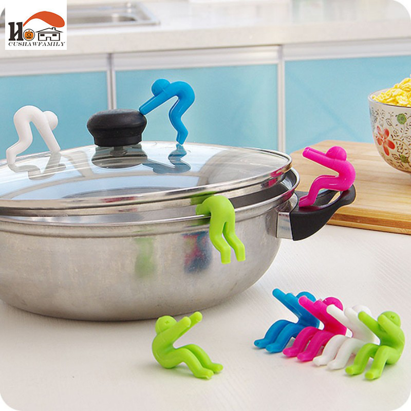 2 pcs/lot New Creative Cooking Tools pot cover heightening Spill control silicone Little people modelling prevent bop overflow