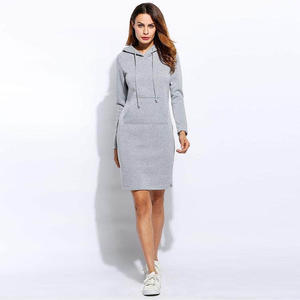 Winter Kleid Frauen Vestidos Hoodies Sweatshirt Kleid 2017 Mode Mit Kapuze Kordelzug Volle Hülsen Vliese Frauen Kleider Plus Größe