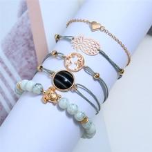 L&H 5PCS/Set Hot Sales Elegant Bracelets Set Double Thin Blue Link For Women Heart/Beads/Pineapple Bangles