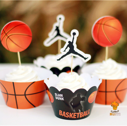24pcs Basketball Sports Theme Cupcake Wrappers&toppers Kids Birthday Party Supplies Cupcake Cases Cupcake Liner AW-0024