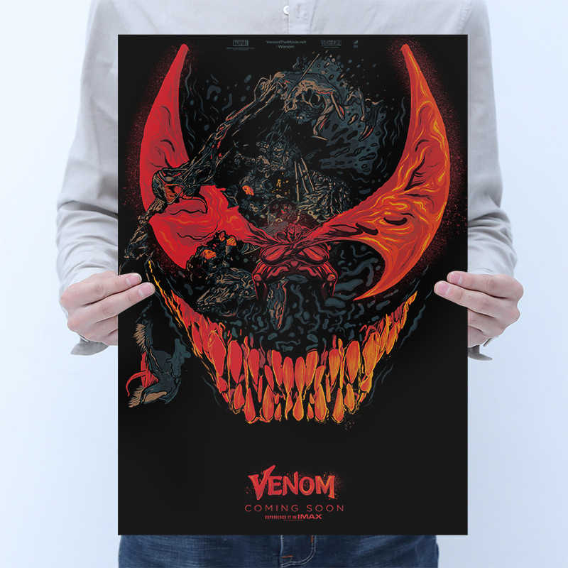 1PCS movie poster Venom Creative abstraction Kraft paper retro poster Home bedroom bar cafe restaurant stylish decorative painti