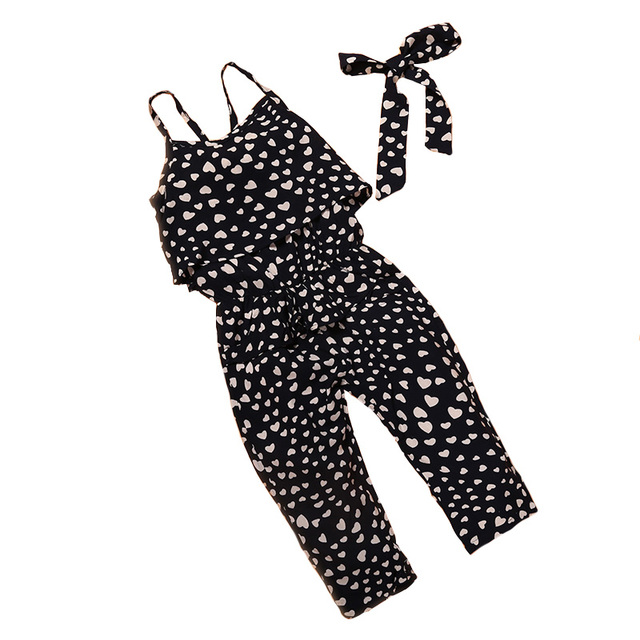 Модная летняя одежда для девочек комбинезоны хлопка без рукавов с принтом Любовь ремень свободные девушки комбинезоны Детская одежда 2 до 7 лет