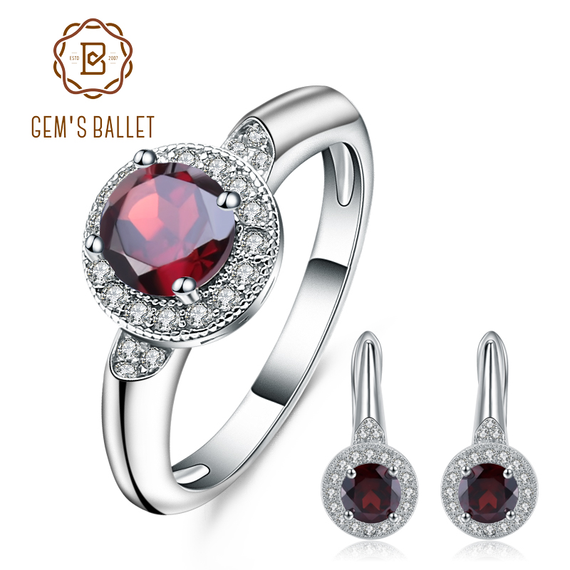 GEM S BALLET 3 15Ct Natural Red Garnet Earrings Ring Set 925 Sterling Silver Gemstone Classic