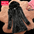 The new winter women in the long section of water pieces mink fight mink hooded coat