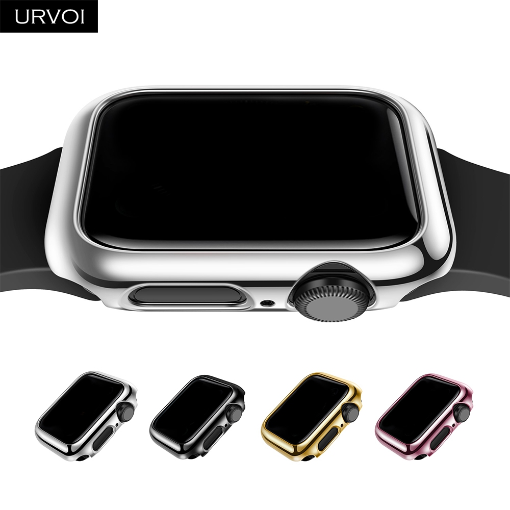 URVOI case for Apple Watch series 4 5 6 electroplating shiny Plastic bumper hard frame cover for iWatch slim fit Ultra-thin case