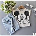 Varejo do bebê roupas das meninas set 2015 edição Han 2 pcs Mickey T-shirt + calça de cowboy meninas roupas de aniversário